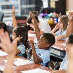 children raising hands in class